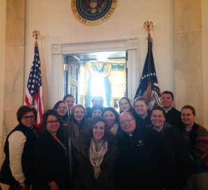 While in Washington, D.C., pilgrims from Marquette Academy in Ottawa were able to tour the White House thanks to a faculty member's connection with a worker there. (Provided photo)