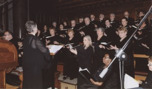 Mary Ann Fahey-Darling conducts the choir during a Mass at St. Peter's Basilica in Rome. (Provided photo)