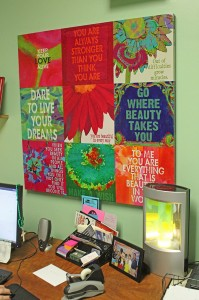 Encouraging words in Lynn WanDeHeede's office. (The Catholic Post/Jennifer Willems)