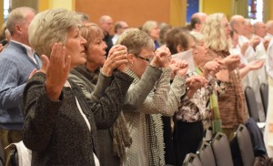 Among the deacons' wives present were, from left, Kay Marvin, Connie Koerner, Liz Heatwole, Lana Herdrich, Minda Rodriquez and Jennifer Brewer. The Catholic Post/Tom Dermody
