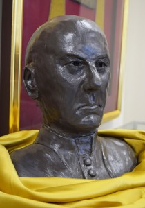 The bust of Bishop Spalding, created by Nic Wilson, as seen in the new exhibit at the diocesan museum.