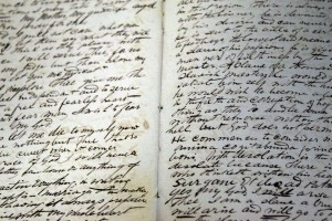 One of Bishop Spalding's diaries is opened in the exhibit. (The Catholic Post/Tom Dermody)