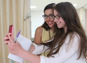 """Rachel Heaton of Springfield takes a selfie with Jenna Guizar, founder of Blessed Is She and a keynote speaker for """"Finding Your Fiat."""" (The Catholic Post/Jennifer Willems)"""