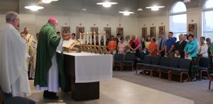 Bishop Jenky celebrates Mass with principals and pastors June 2 in the Our Lady of Perpetual Help Chapel at Spalding at the Spalding Renewal Center in Peoria. (The Catholic Post/Jennifer Willems)