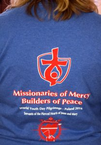 With 2 million expected for World Youth Day in Krakow, the 100 pilgrims traveling with the Servants of the Pierced Hearts of Jesus and Mary will wear matching t-shirts to help stay together. (The Catholic Post/Tom Dermody)