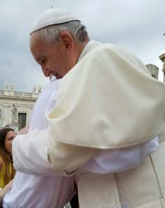 Pope Francis embraces Anthony Stone during their encounter in St. Peter's Square on Aug. 31. (Provided photo)