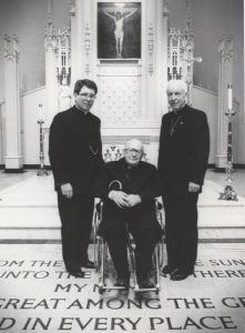 Bishop Myers is pictured in the sanctuary of St. Mary's Cathedral in Peoria with Bishop Edward W. O'Rourke, right, on the occasion of the 91st birthday of their predecessor, Bishop John B. Franz, in this 1987 Catholic Post file photo.
