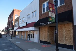 The Nov. 16 natural gas explosion blew out windows in dozens of buildings around the downtown square in Canton. (The Catholic Post/Tom Dermody)