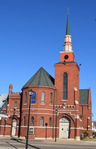 St. Mary Church in Canton, located a block away from the blast site, is closed indefinitely because of cracks in its ceiling plaster. A steeple was added to the 116-year-old church at 159 E. Chestnut St. in early September. (The Catholic Post/Tom Dermody)
