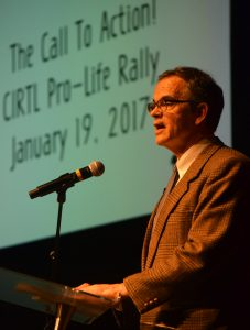 "Tom Olp, an attorney and co-executive director of the Thomas More Society in Chicago, called the crowd in Peoria to ""spiritual fortitude and prayer and action."" (The Catholic Post/Tom Dermody)"