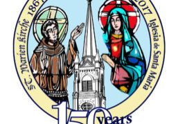 The logo being used for the 150th anniversary of St. Mary Parish in Bloomington was designed by Donna Williams, who won a contest held earlier this year.