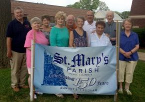 Among those organizing events commemorating the 150th anniversary of St. Mary Parish in Peru are, from left, Dick Nowatka, Jo Marie Duncan, Sandy Nowatka, Joyce Koontz, Bill Dekowski, Mary Suarez, Bob Suarez, Bonnie Pikula, Stan Pikula and Lois Carroll. (Provided photo)