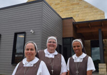 The three Servants of the Pierced Hearts of Jesus and Mary who will have supervisory as well as spiritual advisory roles on the staff of the new Sacré-Coeur Retreat Center are, from left, Sister Laura Garcia (dining services), Sister Ana Pia Cordua (operations), and Sister Catherine Grace (housekeeping). (The Catholic Post/Tom Dermody)