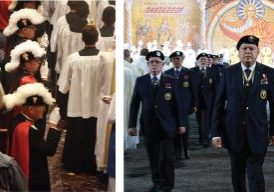 At left, members of a Knights of Columbus fourth degree honor guard in full traditional regalia are pictured during a recent procession at St. Mary's Cathedral in Peoria. At right are the new uniforms shown Aug. 1 during during the international fraternal organization's 135th annual Supreme Convention in St. Louis. (The Catholic Post/Tom Dermody and CNS/Knights of Columbus)